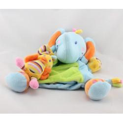 Doudou plat marionnette éléphant bleu vert oiseau NICOTOY