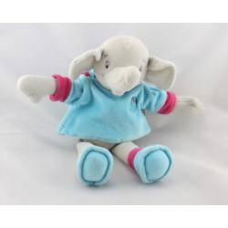 Doudou éléphant gris pull bleu rose BESTEVER 2010
