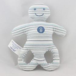 Doudou hochet forme OB blanc rayé bleu OBAIBI