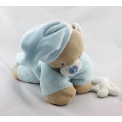 Doudou ours beige bleu couché NATTOU