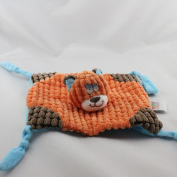 Doudou plat chat orange marron bleu FUNKY VACO