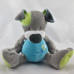 Doudou chien gris bleu vert DOUKIDOU