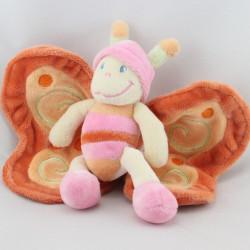 Doudou papillon rose orange jaune NICOTOY
