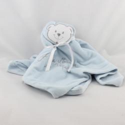 Doudou plat ours bleu J'aime Maman et Papa FRUIT DE MA PASSION