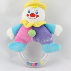 Doudou hochet clown rose violet bleu CHICCO