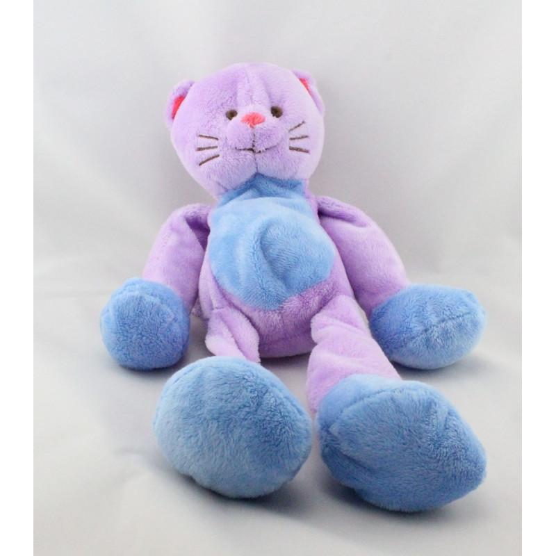Doudou chat rose mauve bleu CREDIT MUTUEL