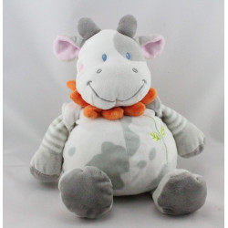 Doudou vache blanche taches grises col fleur NICOTOY