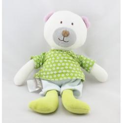 Doudou ours blanc vert bleu Bébé9