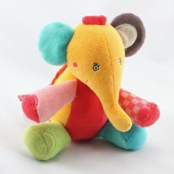 Doudou musical éléphant orange rouge vert bleu BABYSUN