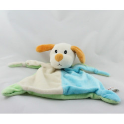 Doudou plat chien blanc bleu vert orange TOI TOYS