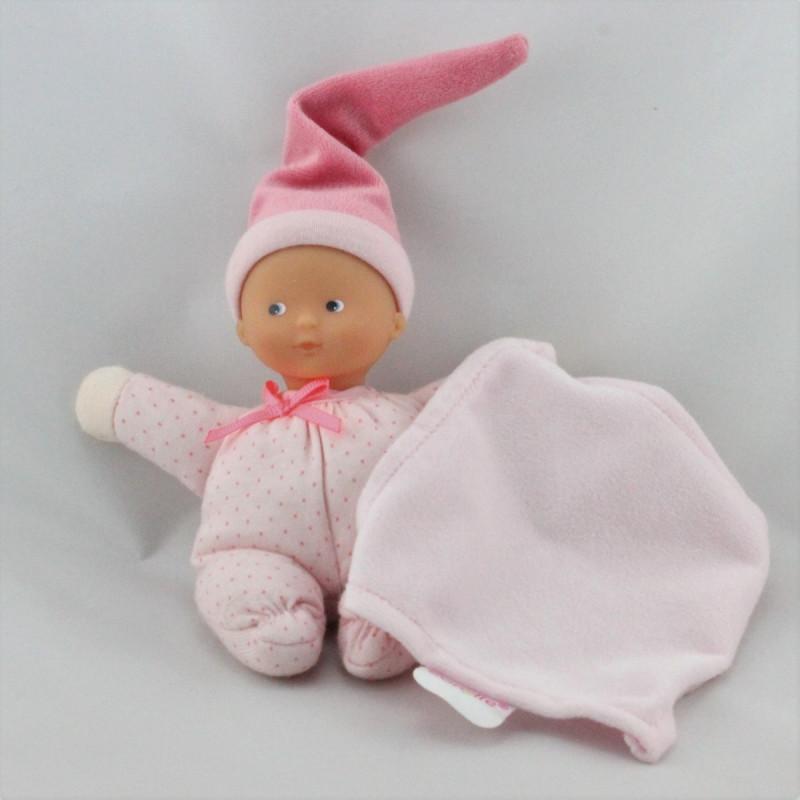Doudou bébé mouchoir rose pois Minirêves COROLLE
