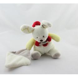 Doudou Lapin blanc jaune beige rouge mouchoir Baby natoir Baby nat