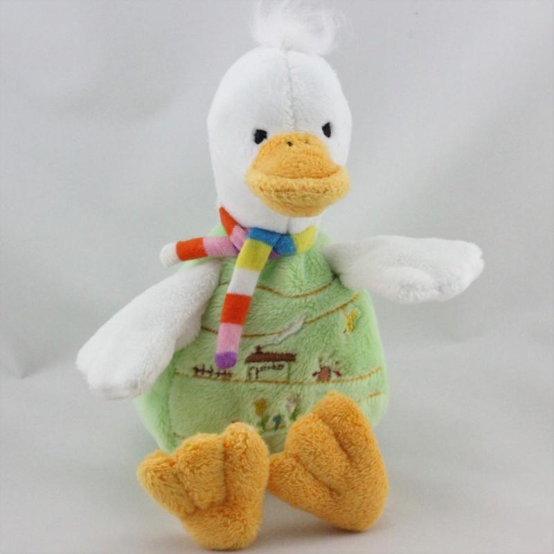 Doudou canard blanc vert CP INTERNATIONAL