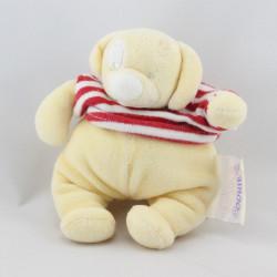 Doudou chien jaune pull rayé rouge NOUKIE'S