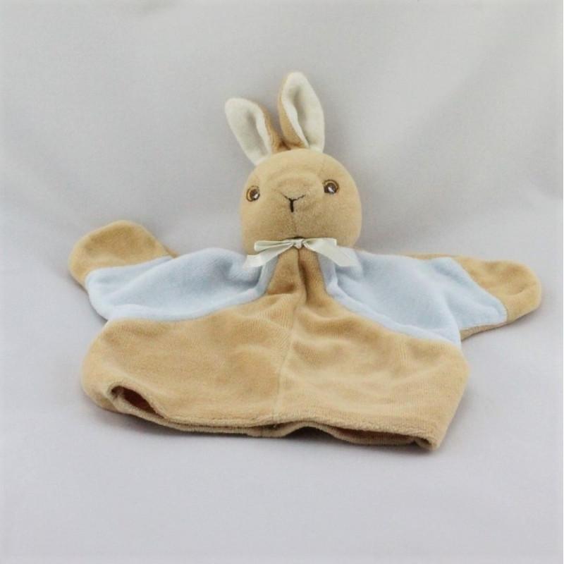 Doudou plat marionnette lapin beige bleu QUILLOUDOU ET BALLOU