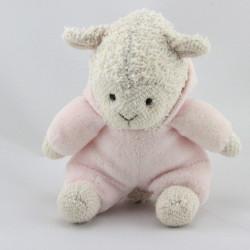 petit Doudou mouton blanc rose capuche