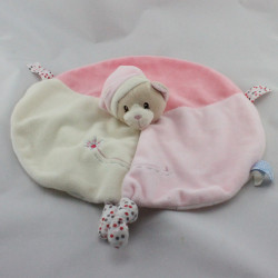 Doudou plat rond ours rose blanc pois GIPSY