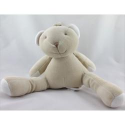 Doudou musical ours beige blanc CADES