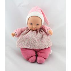 Doudou bébé poupée Baby Pouce rose fleurs COROLLE 2012