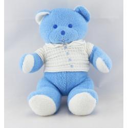 Doudou Ours bleu en chemise blanche Musti Mustela