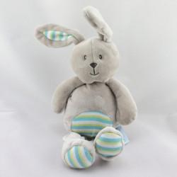 Doudou musical lapin beige gris rayé vert bleu BABY NAT