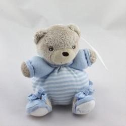 Mini Doudou ours beige bleu rayéKALOO