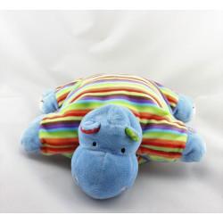 Doudou semi plat coussin hippopotame bleu rayé FISHER PRICE