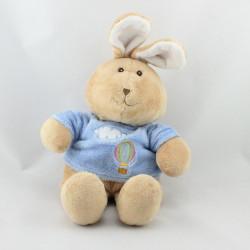 Doudou  lapin beige bleu nuage mongolfiere GIPSY