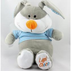 Doudou lapin gris rayé bleu FIZZY