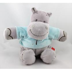 Doudou hippopotame gris bleu palmier INFLUX