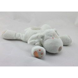 Doudou chien blanc cocard beige orange OBAIBI