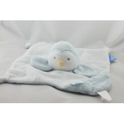 Doudou plat pingouin bleu blanc GRO COMPAGNY