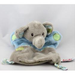Doudou plat marionnette éléphant gris bleu vert Paddy  TOODOO
