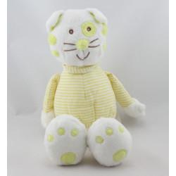 Doudou chat blanc jaune MONOPRIX