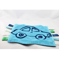 Doudou plat bleu voiture étiquettes TCM