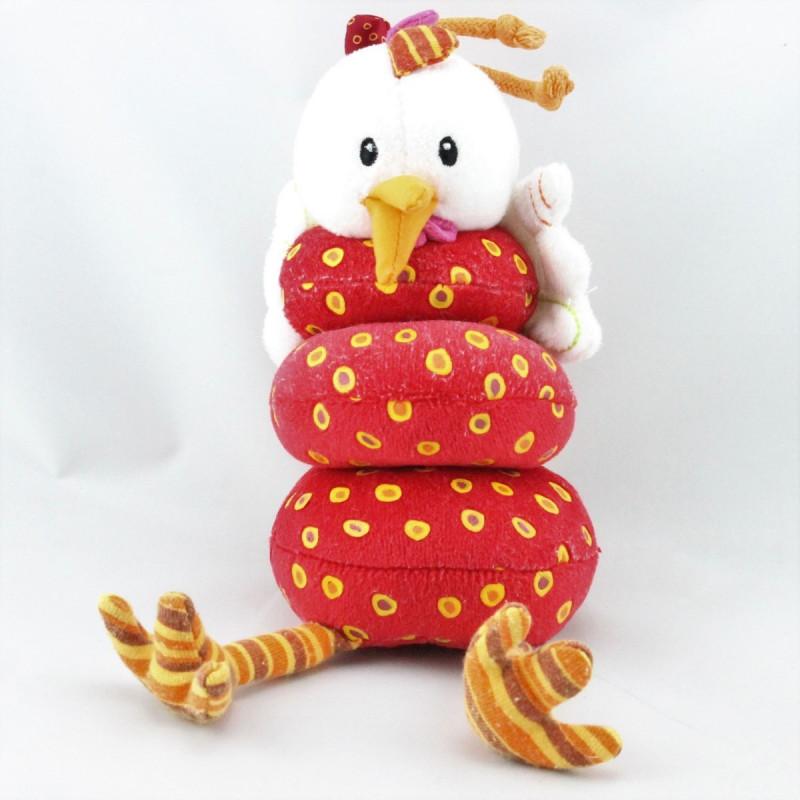 Doudou vibrant poule rouge pois LILLIPUTIENS
