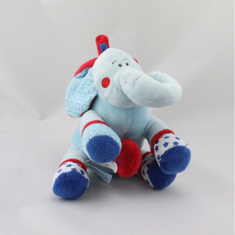 Doudou musical éléphant bleu rouge étoiles TIAMO