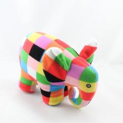 Doudou éléphant carreaux multicolores mouchoir PETIT JOUR ELMER