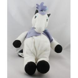 Doudou cheval blanc noir veste mauve IKEA