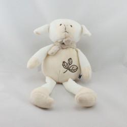 Doudou mouton blanc beige feuilles MALICE ET BULLE CP iINTERNATIONAL