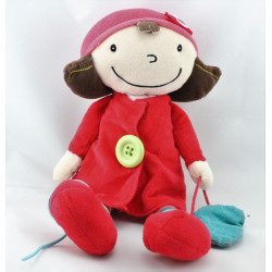 Doudou poupée manteau rouge sac bleu EBULOBO