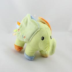 Doudou éléphant vert orange bleu BRIOCHE LA HALLE
