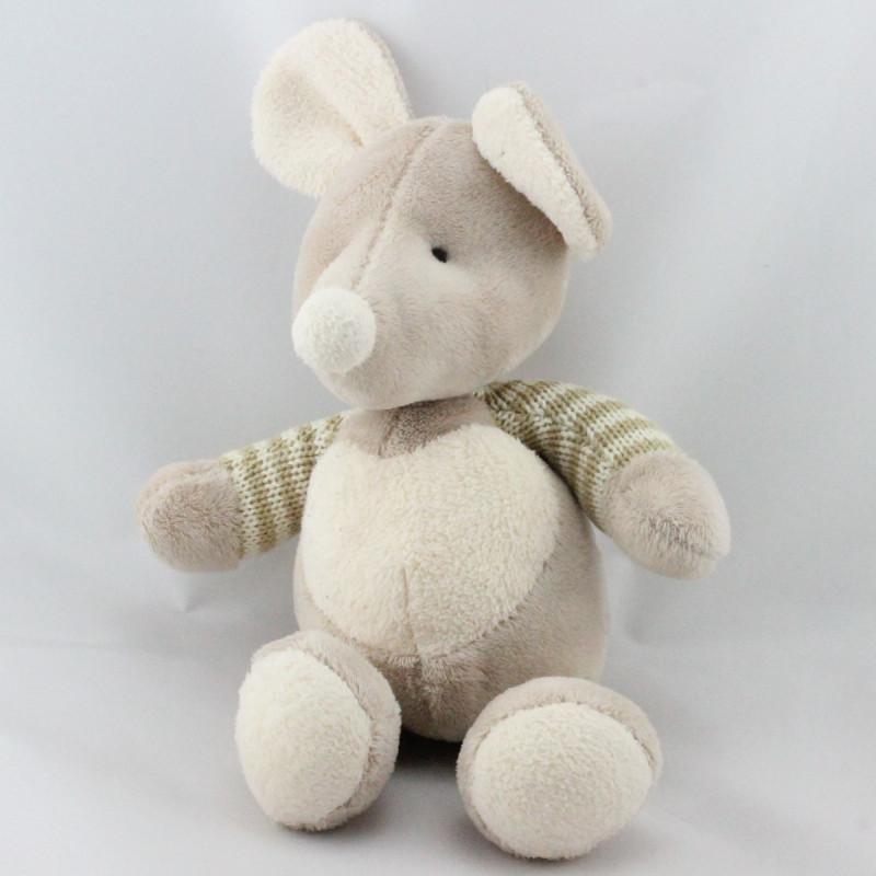 Doudou souris beige blanc rayé laine coeur blanc