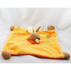 Doudou plat lapin jaune orange carotte SOFT FRIENDS