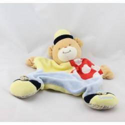 Doudou Plat ours clown jaune bleu rouge pois Takinou