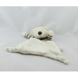 Doudou plat ours blanc rayé marron JELLY KITTEN JELLYCAT