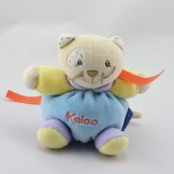 Mini Doudou chat bleu jaune mauve KALOO