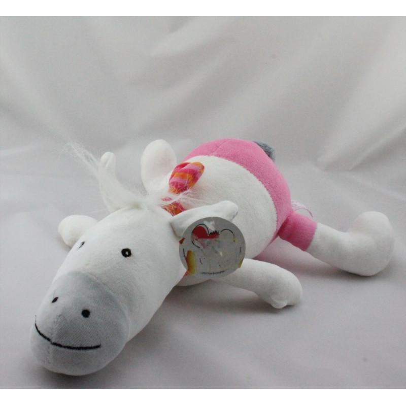 Doudou musical cheval blanc rose gris EGMONT TOYS