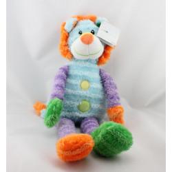 Doudou peluche lion bleu violet vert orange Les Zigolos GIFI