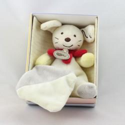 Doudou Lapin blanc jaune beige rouge mouchoir Baby nat